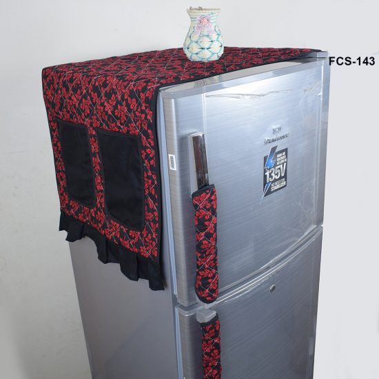 fridge cover Black & Red Flower