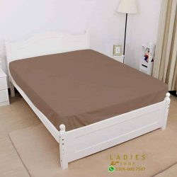 jersey fitted bed light brown